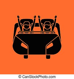 Roller coaster cart icon. Orange background with black....