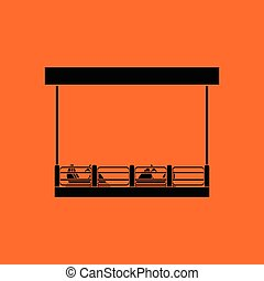 Bumper cars icon. Orange background with black. Vector...