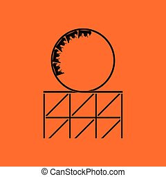 Roller coaster loop icon. Orange background with black....