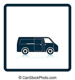 Commercial van icon. Shadow reflection design. Vector...