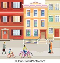 Stadt Einwohner.eps - suburban street with pedestrians and...
