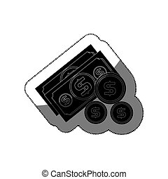 bills dollars with coins isolated icon vector illustration...