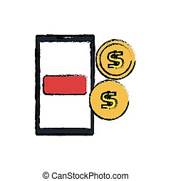 smartphone with coins isolated icon vector illustration...