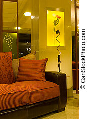 comfortable interior with sofas