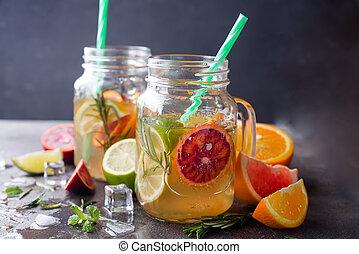 orange lemonade on a jar - blood orange lemonade in a glass...