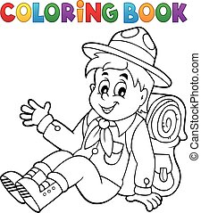 Coloring book scout boy theme 2 - eps10 vector illustration.
