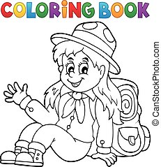Coloring book scout girl illustration.