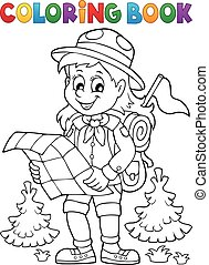 Coloring book scout girl theme 2 - Coloring book scout girl...