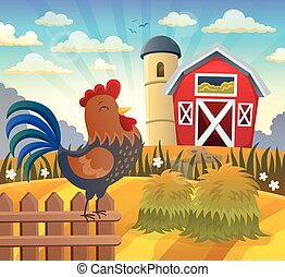 Farmland with rooster on fence illustration.