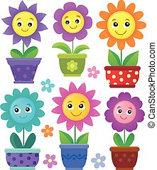 Flowerpots with smiling flowers illustration.