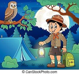 Scout boy theme illustration.