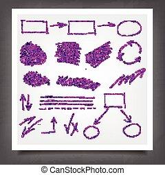 Hand drawn violet gold design elements. - Hand drawn violet...
