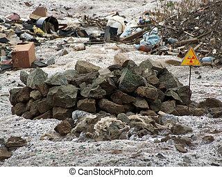 Radiation sign, landfill