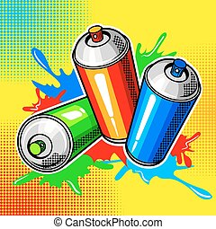 Colorful paint cans comic book style vector