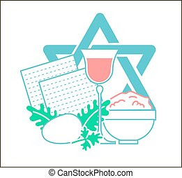 Icon holiday Pesach - Icon on the holiday - Pesach. Icon in...