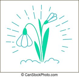 Icon of a snowdrop flower in the snow with rays. Icon in the...