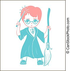 icon of a wizard boy with a magic wand and a broom . Icon in...