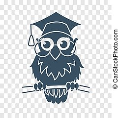 silhouette icon back to school owl