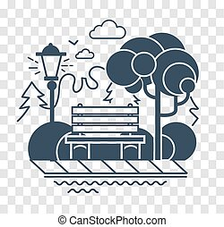 silhouette icon of a calm park - Icon of a calm park with a...