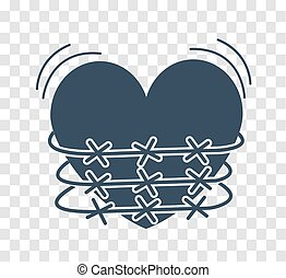 silhouette icon of heartache - concept of heartache, heart...