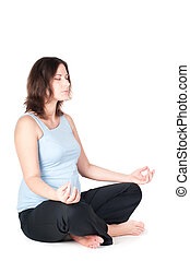 Portrait of pretty pregnant woman practicing yoga
