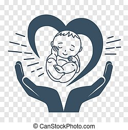 silhouette icon of the birth of a child - Concept of the...