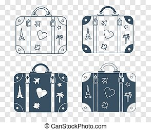 silhouette icon suitcase for travel - Icons of a suitcase...
