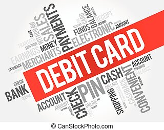 Debit Card word cloud collage, finance business concept...