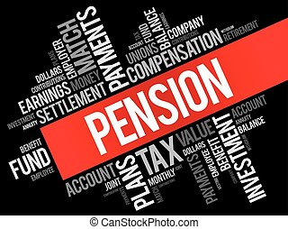 Pension word cloud collage, social concept background