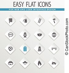 Fire brigade icons set - Fire brigade easy flat web icons...