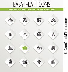 Infrastucture of the city icons set