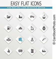 Extraction of oil icons set - Extraction of oil easy flat...