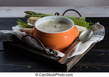 Spring season - white and green asparagus soup, ready to eat...