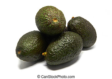 five Avocados isolated on a white background