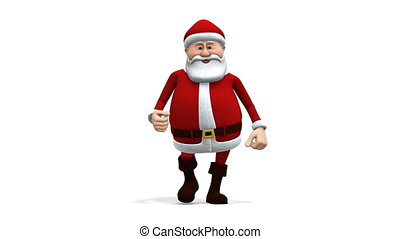 santa walking - front view - cartoon santa claus walking -...