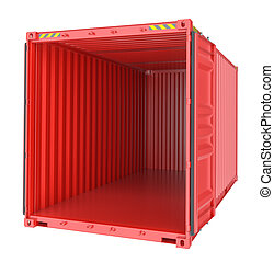 Freight shipping, open empty cargo container. 3D...