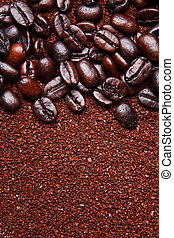 coffee grounds and whole beans background - brown coffee...
