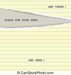 Torn yellow page from a notepad with stripes. Creative...