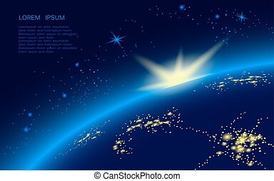 The planet s disk in the blue sky is full of stars, the sun appears above the horizon. On the night side of the earth, glow with the sparks of the city.