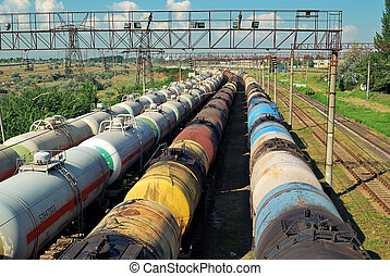 transports tanks with oil - the train transports tanks with...