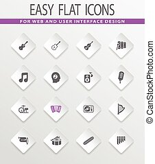 Music icons set - Music easy flat web icons for user...