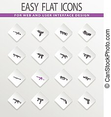 Set of hand weapons - Hand weapons easy flat web icons for...