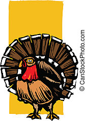Thanksgiving Turkey - American wild turkey in woodcut style.