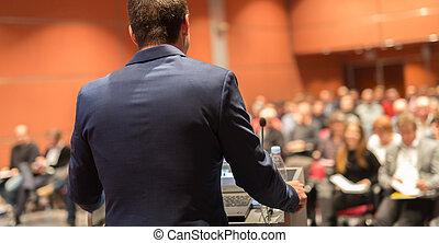 acontecimiento, empresa / negocio, Dar, orador, público,...