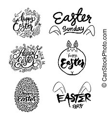 Hand drawn easter lettering set.