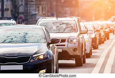 Zoom view of the queue of cars on the road - Close-up of the...
