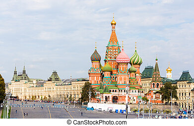 Moscow view with Saint Basil's Cathedral - Vasilyevsky Spusk...