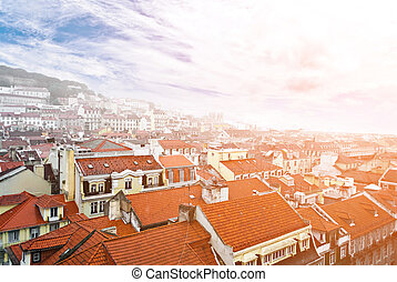 Lisbon, view to the Alfama and the Baixa, the famous old...