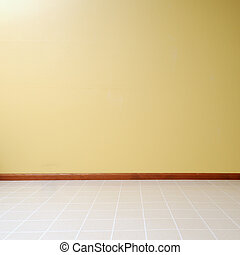 Empty Room - Empty room with a linoleum floor with a yellow...