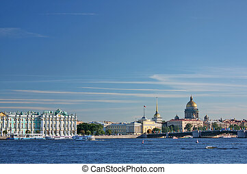 Saint-Petersburg. View of the Palace quay (Winter Palace -...